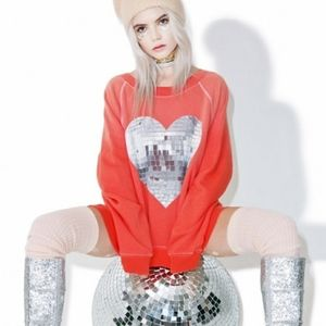 Wildfox Orange Distressed Disco Ball Sweatshirt S